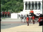 Princes ride in landau during Trooping of the Colour ENGLAND London Horseguards Parade Royal landau onto parade ground carrying Queen Mother Princess...