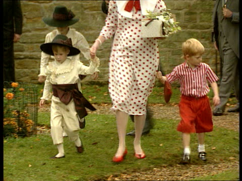 Viscount Althorp's wedding Prince Harry is pageboy ENGLAND Northants Brinkton Prince and Princess of Wales arriving with William Prince Harry in...