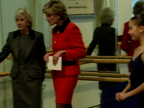 Princess Diana talks to pupils and staff at the English National Ballet School