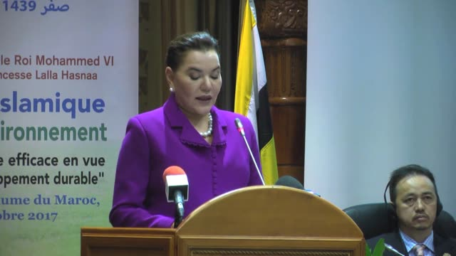 Princess Lalla Hasnaa chairwoman of the Mohammed VI Foundation for Environment Protection speaks during 7th Islamic Conference of Environment...