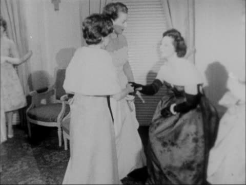 Princess Margaret attends Pied Piper Ball ENGLAND London Hyde Park Hotel INT Princess Margaret and others arriving and greeting lineup of ladies...