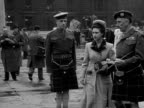 Princess Margaret inspects a guard of honour made up of the Highland Light Infantry during her visit to Glasgow