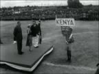Nairobi visit KENYA Nairobi EXT Children waving flags to greet HRH Princess Margaret at Nairobi Sports Stadium / Princess arrives / Various shots...