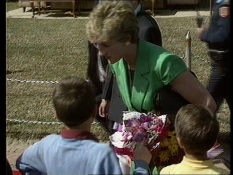Princess of Wales makes first official visit since separation NEPAL Kathmandu EXT GV View over city GV Ditto MS Princess of Wales gives bouquets of...