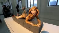 3D printed figures are displayed during the 3D Printing Expo at Gallery Center 548 in New York on April 17 2015 3D Printing Expo will showcase the...
