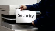 Printing a security text document on printer machine