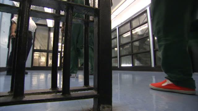 Prison inmates walk through a security gate.