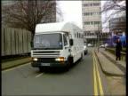 Prison van carrying 13 alleged hijackers towards to court PAN BV Van thru gates CF = B0553943 or B0554620 195749 to 200103 MIX