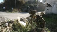 Pro Assad forces use anti aircraft gun in battles in Latakia province