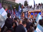 Pro Cristina Fernandez gather in May Square to celebrate her reelection as President of Argentina