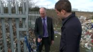 Problem of fly tipping on the increase EXT Alison Ogden interview SOT Concrete blocks at entrance to field Pile of fly tipped rubbish at entrance to...