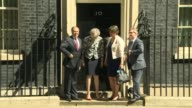 ProBrexit donation at centre of transparent funding row LIB / T26061702 London Downing Street EXT Theresa May MP photocall on steps of Number 10 with...