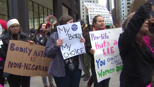 ProChoice Activists At A Rally in Downtown Chicago on Jan 18 2015