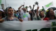 TS Proenvironment protesters chant during a climate march on September 21 2014 in Rio de Janeiro Brazil