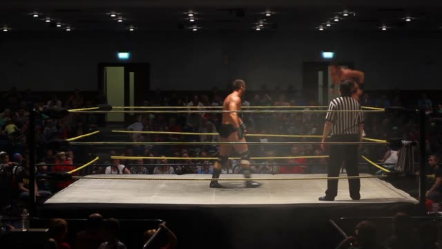 professional American style wrestling match featuring a dive from the top rope and spinebuster slam in the middle of the ring