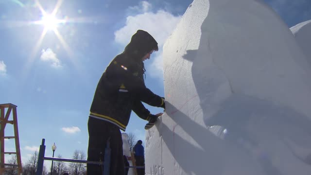 15 professional and 12 high school teams participated in the 6th Annual Snow Days sculpting competition at Navy Pier on February 06 2014 in Chicago...