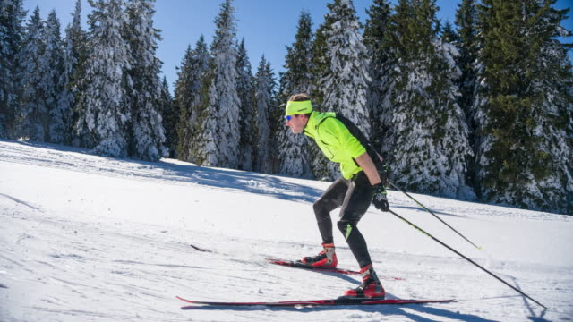 Professional cross country skier skate skiing uphill alongside a forest
