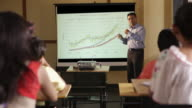 Professor giving presentation in a college