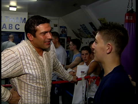 London INT Tamer chatting with young boxer Tamer Hassan interview SOT I met my agent and she asked if I'd ever thought about acting and I said...