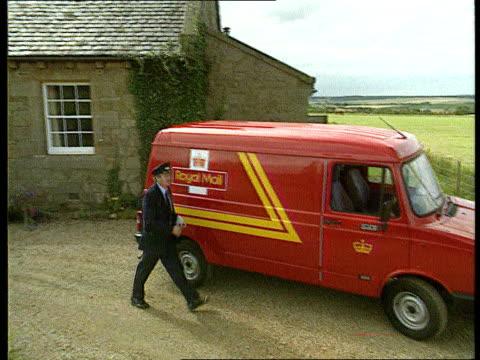 Profits and Privatisation ITN LIB TLMS Postman walking along to Royal Mail van gets in