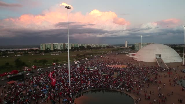 Progovernment protesters against impeachment demonstrate for President Dilma Rousseff and former President Lula outside the National Congress on...