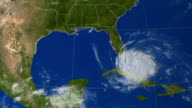 Progression of Hurricane Rita through the Gulf of Mexico and then inland. Hurricane Rita formed in mid-September 2005, and was the 17th named storm of that record season. Rita made landfall on the Texas/Louisiana coast on 24th September. Animation created