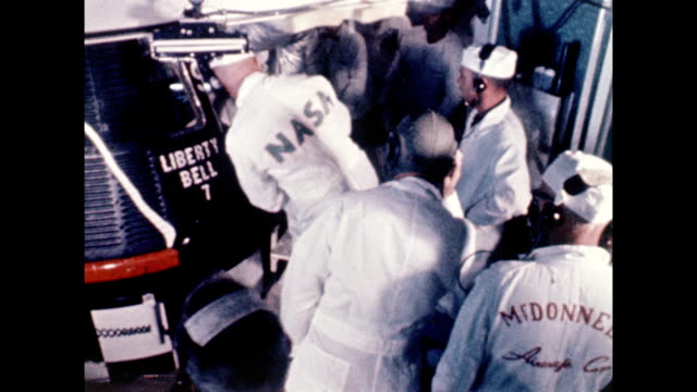 Project Mercury Redstone 4 rocket on launch pad / Virgil 'Gus' Grissom suited up climbs into Liberty Bell 7 space capsule / spacecraft is launched /...