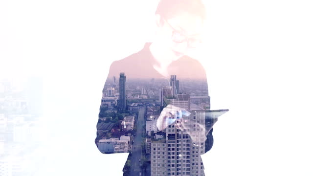 Projection of cAerial view city scape on a business woman