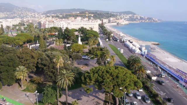 EW/S, Promenade des Anglais, Mediterranean Sea, Azur, beach, trees, palm trees, rooftop view, Nice, France
