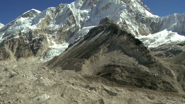 Prominent Himalayan peak and a glacier flowing down through a valley.