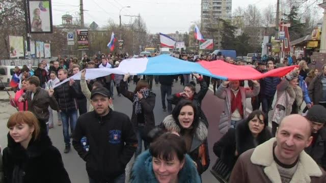 ProRussians have held a demonstration in the southern Ukrainian city of Simferopol as Russia's parliament gave President Vladimir Putin the go ahead...