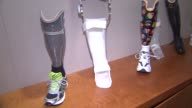 Prosthetic arms and legs on display at Northwestern University ProstheticsOrthotics Center on May 27 2014 in Chicago Illinois