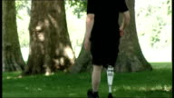 Prosthetic 'Power Knee' unveiled at the Science Museum in London ENGLAND London Hyde Park EXT General views David Jonsson walking in park using Power...