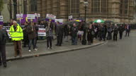 Protest against European Arrest Warrant Showing Exteriors of UKIP activists protesting against European Arrest Warrant and EU law outside of...