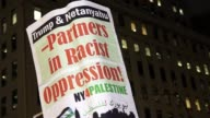 Protest on East 57th Street and 5th Avenue –adjacent to the Trump Tower on 5th Avenue / Palestinian people and supporters protested the meeting...