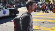 A protester wears a No Hate and antiNazi shirt where protesters gathered after members of Patriot Prayer an altright protest group had said they...