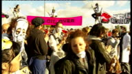 Protesters and police at Coryton oil refinery in Thurrock ENGLAND Essex Stanford Le Hope EXT **Music heard throughout SOT** General views of 'Crude...