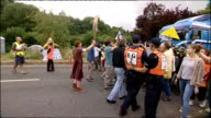Protesters at Balcombe fracking site ENGLAND Sussex Balcombe EXT General views of antifracking protesters and police officers