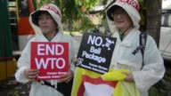 Protesters gather ahead of a four day conference of the World Trade Organisation in Bali Indonesia CLEAN Protests at WTO conference in Bali on...