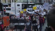 Protesters gather in New York for a march against Donald Trump as he arrives to attend the United Nations General Assembly and holds a series of...