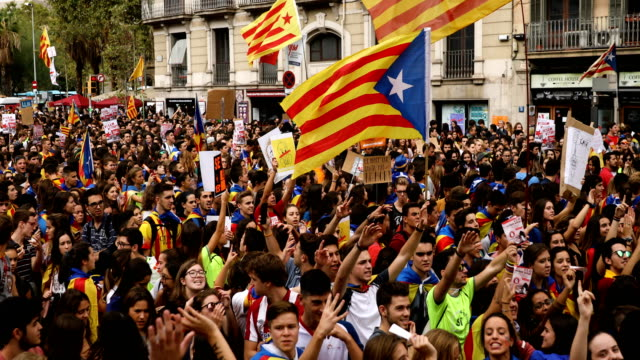 Protesters gather on October 2 Barcelona Spain The Catalonian referendum vote took place on October 1 2017 in Barcelona Spain According to...