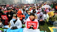 Protesters gathered and occupy major streets in the city center for a rally against South Korean President Park Geunhye on November 26 2016 in Seoul...