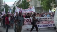 Protesters held peaceful demonstrations in Athens on Thursday as Greek lawmakers prepared to vote on a third bailout bill