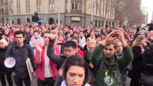 Protesters march during a rally in Melbourne CBD on July 28 2017 in Melbourne Australia Rallies around Australia were held this week to protest...