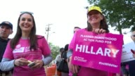 Protesters outside Hofstra University prior to the presidential debate / Marching are employees of Planned Parenthood Pro Hillary Clinton