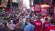 Protesters pour into New Yorks Times Square to denounce the Iran nuclear deal as a threat to Israel and global security demanding that Congress...