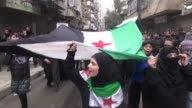Protesters rally in Aleppo Syria on Friday in favour of the Free Syrian Army and against the AlQaeda linked Islamic State in Iraq and the Levant...