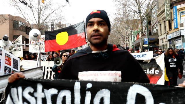Protesters rally in Melbourne CBD on July 28 2017 in Melbourne Australia Rallies around Australia were held this week to protest against the handling...