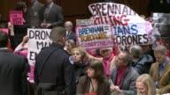 Protesters repeatedly disrupt the senate hearing to confirm the new CIA director John Brennan testifies at intelligence committee at US Senate Hart...