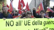 Protesters take part in an antiEU demonstration at the Campidoglio as European Union leaders meet on the 60th anniversary of the Treaty of Rome on...